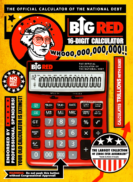 Front of Box - Big Red Calculator- The Official Calculator Of The National Debt