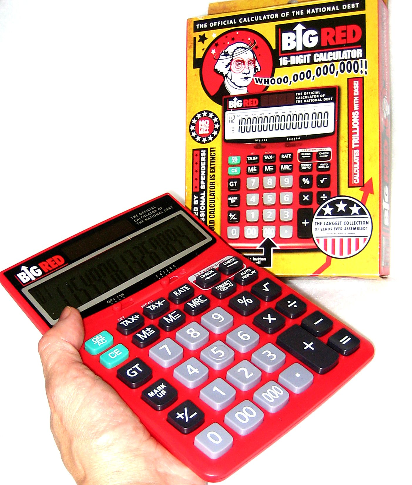Big Red Calculator Is a hand-held desk calculator