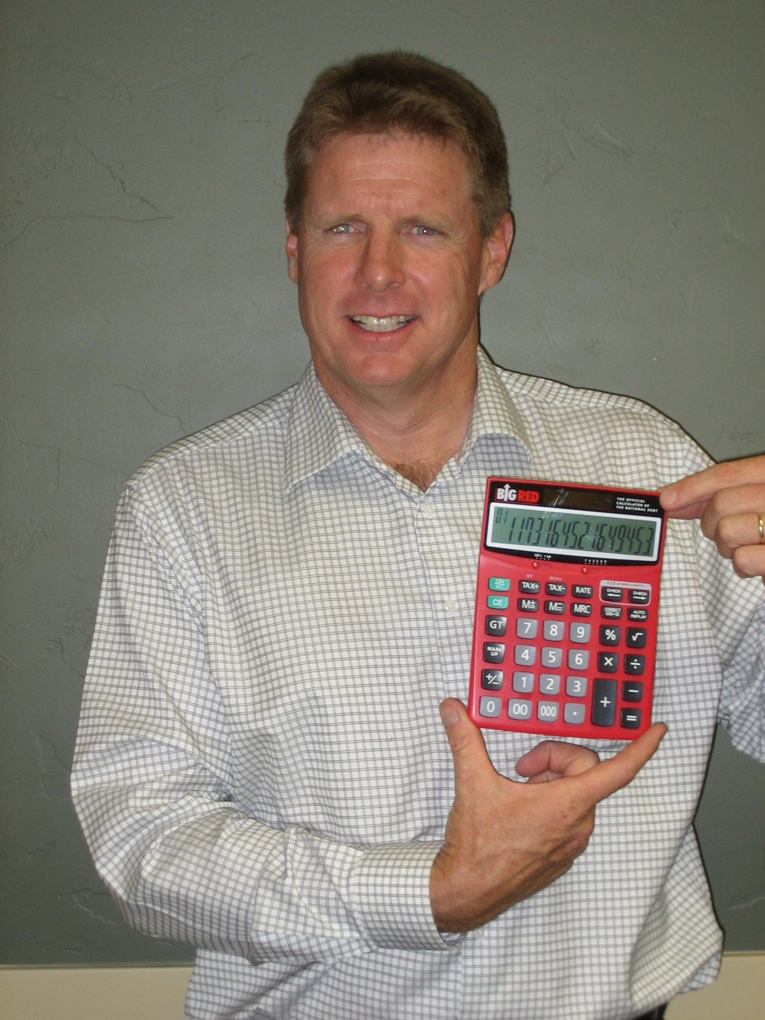 Matt Miles With His Big Red Calculator